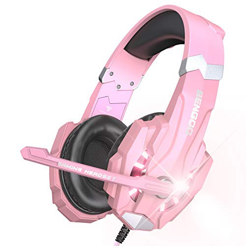 BENGOO G9000 Professional Gaming Headset for PS4, PC, Xbox One Controller, Noise Cancelling Over Ear Headphones with Mic, LED Light, Bass Surround, Soft Memory Earmuffs for Laptop Nintendo - Pink