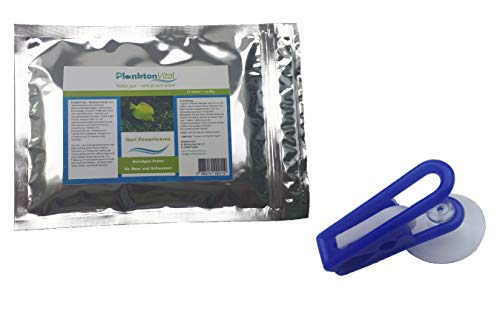 PlanktonVital Nori Powerleave Nori-Algenblätter Algenfutter Seaweed Futterklammer Fischfutter Nori Algen (10 + Futterklammer)