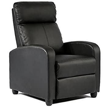FDW Black Modern Leather Chaise Couch & Recliner Chair Sofa Furniture