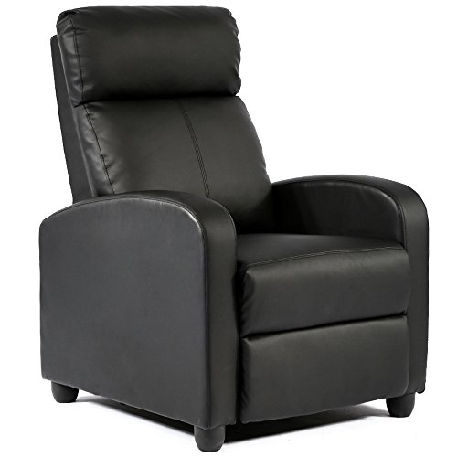 Wingback Recliner Chair Leather Single Modern Sofa Home Theater Seating for Living Room,Black
