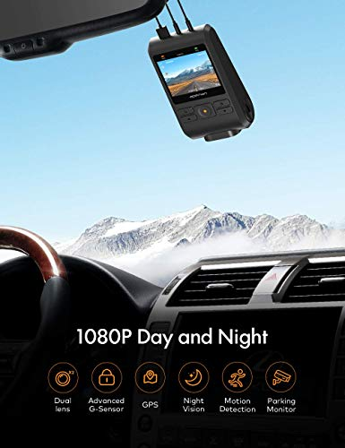 APEMAN Dash Cam Front and Rear 1080P Full HD Dual Lens Car Camera with IPS Screen, 170°Wide Angle,Support GPS, G-sensor, WDR, Night Vision, Motion Detection, Parking Monitoring
