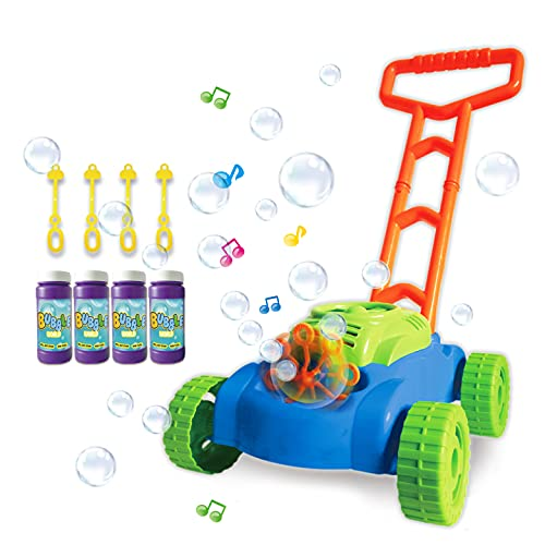 ToyVelt Bubble Lawn Mower for Kids - Automatic Bubble Machine with Music Sounds Best Toys for Toddlers Plus 4 x Bottles of Solution & 4 x Sticks - for Boys & Girls Ages 3 -12 Years Old