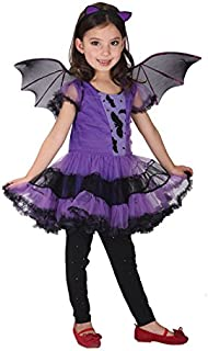 Children Girls Outfit Halloween Witch Cosplay Dress Hair Hoop Bat Wing Costume Outfit Set Kids Cosplay Costume (130cm/8-9T)