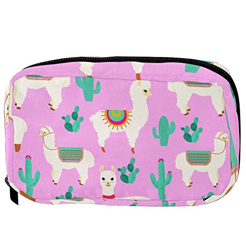 TIZORAX Cosmetic Bags Llama And Cactus In Pink Handy Toiletry Travel Bag Organizer Makeup Pouch for Women Girls