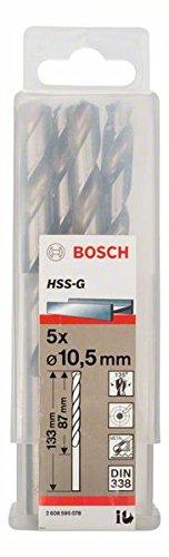 Bosch 2608595078 Din338 HSS-G Metal Drill Bit, 10.5mm x 87mm x 133mm, Silver, Pack of 5