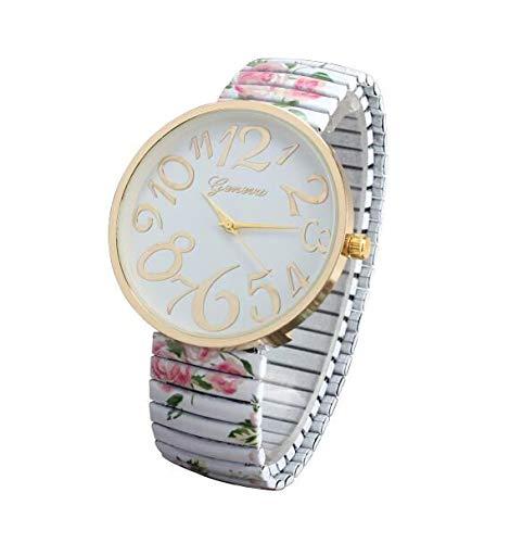 jieGorge Reloj para Mujer, Reloj de Pulsera, joyería y Relojes de Lujo para Mujer con Elasticidad y Flores, Color Blanco