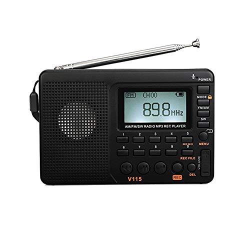Lsmaa Radio portátil, pantalla retroiluminada digital compatible con tarjeta Tf ajuste automático batería de litio recargable, adecuado para escuchar estaciones de radio o canciones