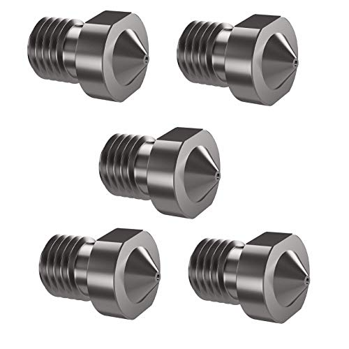 HUANRUOBAIHUO 5pcs/lot 3D Printer Parts Hardened Steel Die Steel Nozzle 1.75mm 0.2/0.3/0.4/0.5mm Suitable For Ender3 E3D V6 Hot End Prusa I3 Extruders Components (Size : 1.0mm)