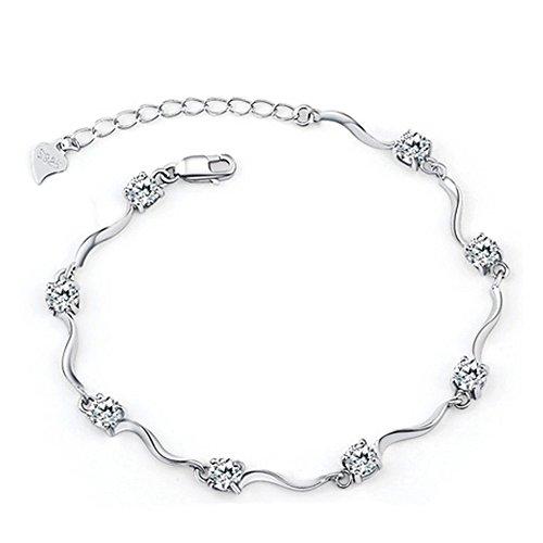 Tusuzik Regalo di San Valentino Braccialetto per Donna,925 sterline d'Argento Braccialetto Placcato oro bianco Bracciale in Zirconia Cubica