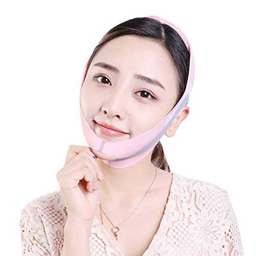 AQWESD Face Shaper Band et Face-Lifting Bandage Artefact for Women and Men to Thin and Lift Double Chin Anti-Wrinkle Pink