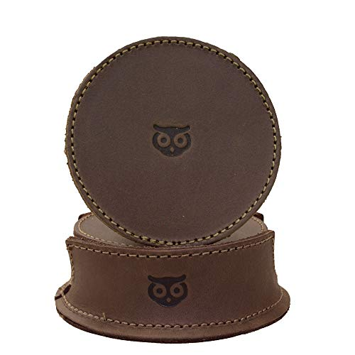 Hide & Drink, Durable Thick Leather Owl Coasters with Stitching (6-Pack) Wood Furniture, Coffee &...