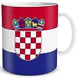 TRIOSK Tasse Flagge Kroatien Länder Flaggen Geschenk Balkan Souvenir Croatia für Reiselustige Frauen Männer Arbeit Büro Weltenbummler