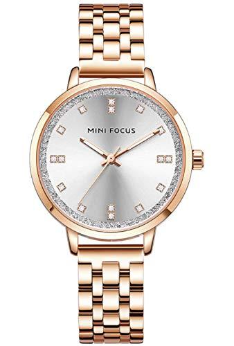 MLHXHX Orologio da donna semplice con diamanti da donna, movimento giapponese, impermeabile, cinturino in acciaio al quarzo, orologio da donna in oro rosa