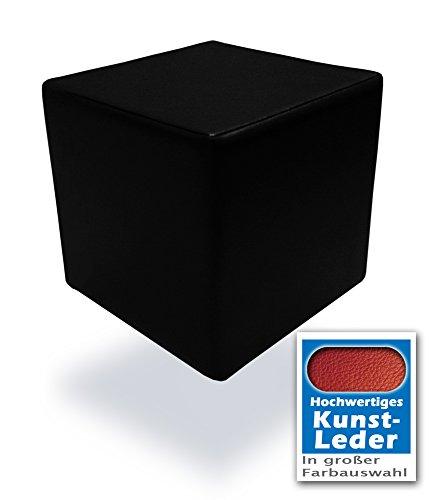 Spielpolster Schaumstoff Würfel in Schwarz mit hochwertigem Kunstlederbezug und Qualitätsschaumstoff 40 x 40 x 40 cm. Kinder Spielspaß, Sitzhocker, Sitzwürfel, Schaumstoffwürfel. (Schwarz)