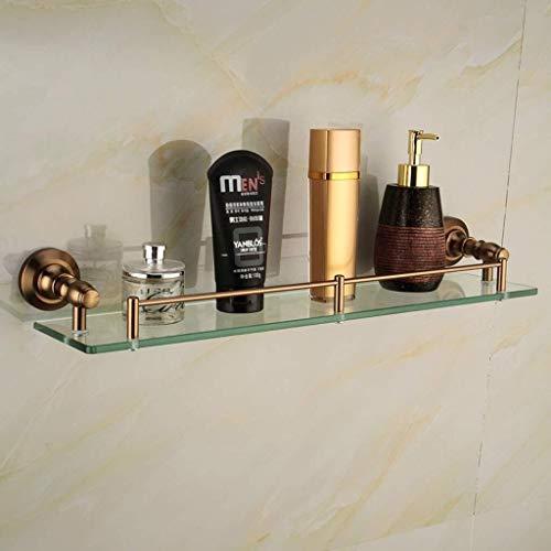 Yxsd Estantes de baño Estante de vidrio templado Estante de baño cuadrado con riel