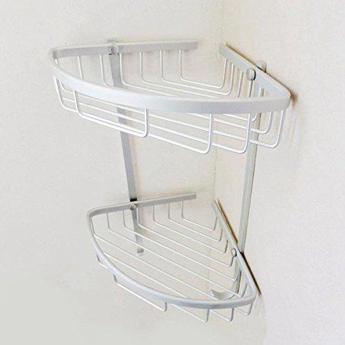 Badkamerhanger van aluminium met dubbele ruimte driehoekige mand van aluminium standaard zilver.