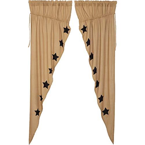 VHC Brands Country Curtains Rod Pocket Drawstring Ties Stenciled Cotton Burlap Star Prairie Panel Pair, Black Natural Tan