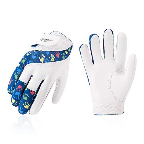 Vgo... Golfhandschuhe für Kinder von 5-6 J.A.Ziegenlederpalmen, weich und atmungsaktiv(1 Paar, Kid-S, Blau, GA7990)