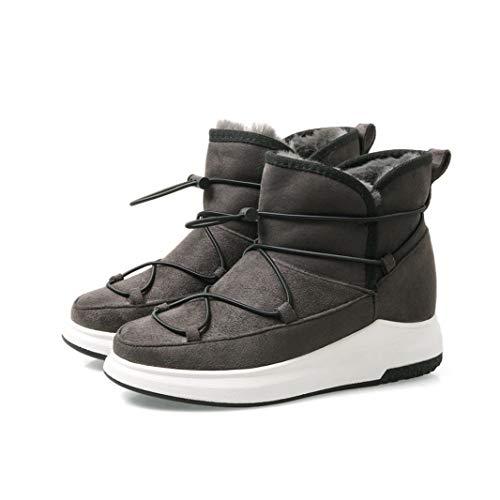 Klassische Winter-Starke Frauen-Schnee-Aufladungen Runde Zehen-Beleg Auf Plattform-Schuhen Veloursleder-beiläufige Turnschuhe Big Size 43 Wedge Ankle Booties