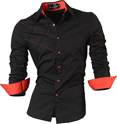 jeansian Herren Freizeit Hemden Shirt Tops Mode Langarmlig Men's Casual Dress Slim Fit 2028 Black XL
