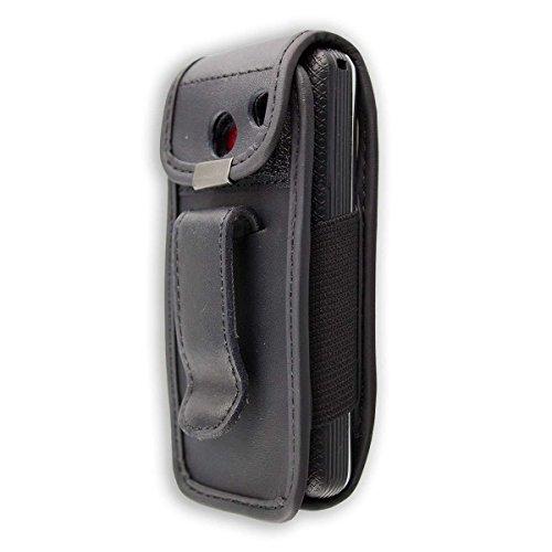 caseroxx Ledertasche mit Gürtelclip für AEG Voxtel M250 aus Echtleder, Handyhülle für Gürtel (mit Sichtfenster aus schmutzabweisender Klarsichtfolie in schwarz)