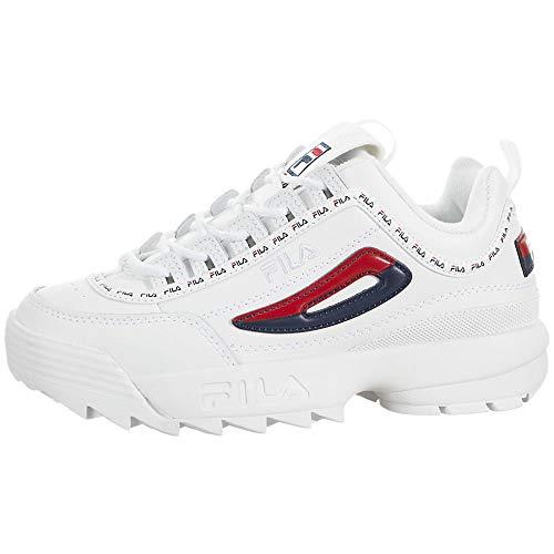 Fila Disruptor II Premium Repeat Damen-Sneaker, weiß/marineblau/rot, Weiá (Weiß/Marineblau/Rot), 36.5 EU