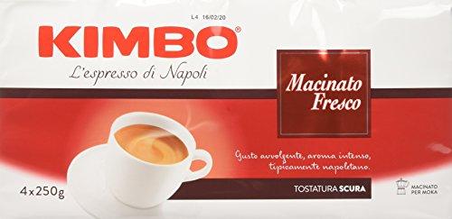Kimbo Caffè Macinato Fresco - Pacco da 4 x 250 gr (Totale 1000 gr)