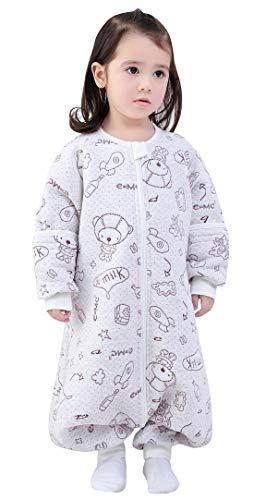 Happy Cherry Gigoteuse en coton avec jambes Pyjama avec manches amovibles pour le printemps automne 1-5 ans - Gris - Small