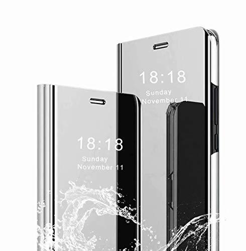 TingYR Funda para Xiaomi Poco X3 NFC Carcasa, Espejo Funda Flip Inteligente Mirror Caso, Soporte Plegable, Case Cover Funda para Xiaomi Poco X3 NFC.(Plata)