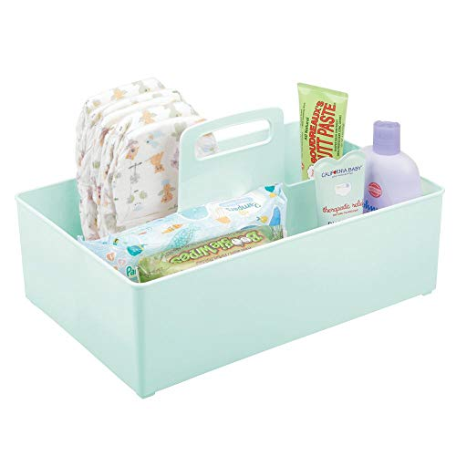 mDesign Cesta organizadora Extragrande para Cuarto de bebé – Práctica Caja con asa y 2 Compartimentos, sin Tapa – Organizador de Juguetes, pañales, Peluches y más en plástico sin BPA – Verde Menta