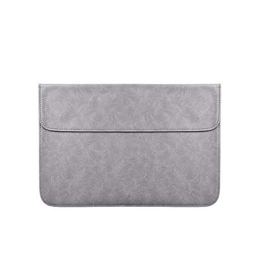 Soft PU Leather Laptop Sleeve for MacBook Air Pro 13.3 14 15inch Laptop Bag Notebook Tablet Case-Grey_14-inch
