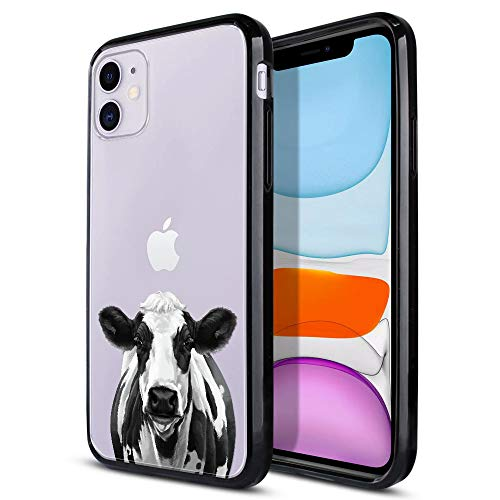 FINCIBO Case Compatible with Apple iPhone 11 6.1 inch 2019, Slim Shock Absorbing TPU Bumper + Clear Hard Protective Case Cover for iPhone 11 (NOT FIT 11 Pro) - Cute Black Spot Cow