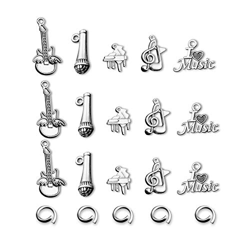 Music Charms for Music Lover Musician 15pcs Accessories Musical Instrument Notes Symbols Charms Collection Loose Beads Set for DIY Jewelry Making (Alloy)