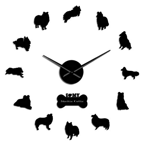 xinxin Reloj de Pared Sheltie Collie Dog Breed Mute Quartz DIY Reloj de Pared Sheltie Shetland Sheepdog Puppy Reloj de Pared sin Marco Rough Collie Pet Clock