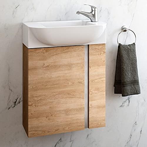 Coycama Mueble de baño Versa suspendido a Pared Fondo Reducido 1 Puerta y Lavabo Cerámico (Roble Natural, 45)