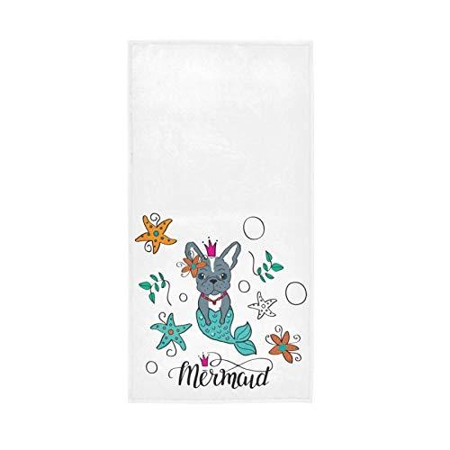 Mermaid Small Bath Towel for Girls 16x30 in, French Bulldog Guest Hand Towels Sea Star Kitchen Dish Towel Soft Quality Premium Fingertip Washcloths for Bathroom Decor Hotel Spa Gym Sport