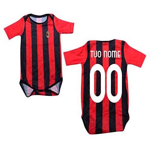 Milan Body Neonato Rossonero Personalizzato Ufficiale A.C (6 Mesi)