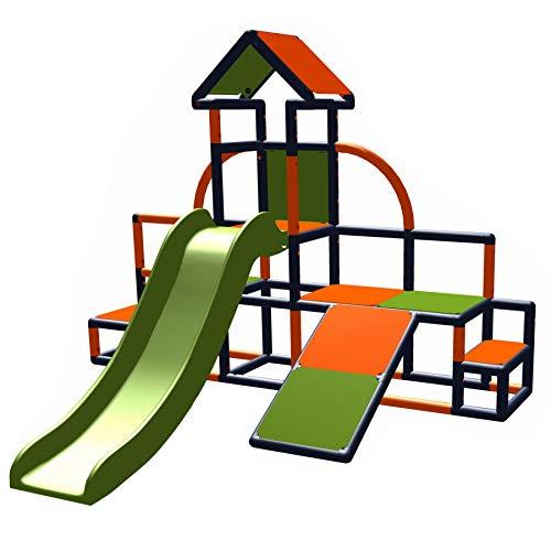 move and stic - Charlin Spielturm mit Rutsche und Schräge für den Garten oder das Kinderzimmer apfelgrün-orange-titangrau