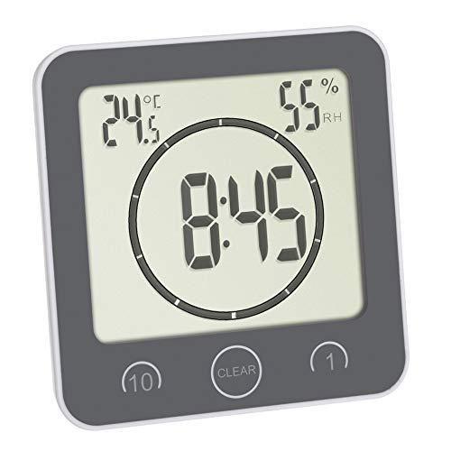 TFA Dostmann Bad-/ Küchenuhr mit Timer, 60.4001.10, Befestigung ohne Bohren, Zeit bis 99min, spritzwassergeschützt, inkl Thermo-Hygrometer, grau, L 106 x B 41 (52) x H 109 mm