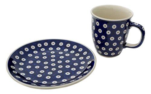 Bunzlauer Keramik Manufaktura Mars mit Kuchenteller Set Becher mit Teller, Keramik, Dekor Bunzlau-Blau, 18 cm, 2-Einheiten