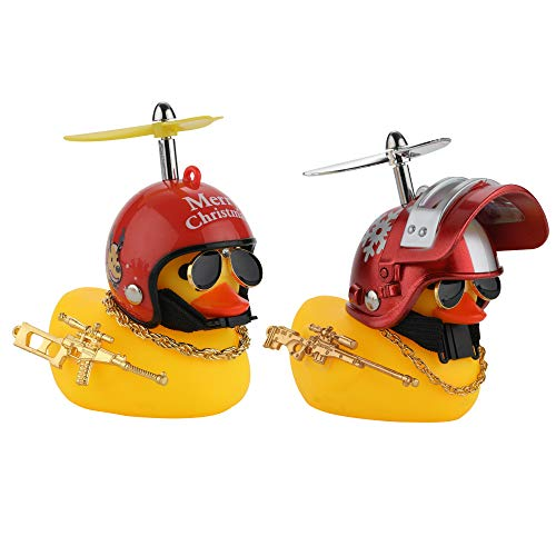 U-Goforst Cute Rubber Duck Toy Car Ornaments Yellow Duck Car Dashboard Decorations Bike Gadgets with Propeller Helmet (Reindeer Snowflake)