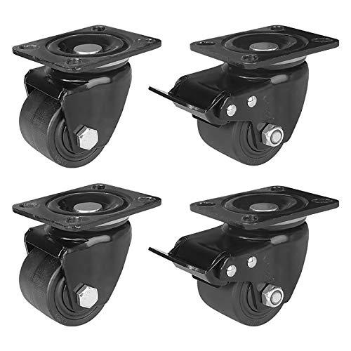 Casters Juego de 4 ruedas móviles de nailon con frenos giratorios giratorios pequeños y fijos para cama, mesa o banco de trabajo