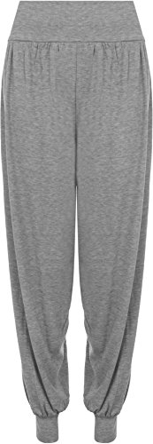 Ladies Plus Size Harem Trousers Womens Full Leggings Stretch Pants - Grey 12/14