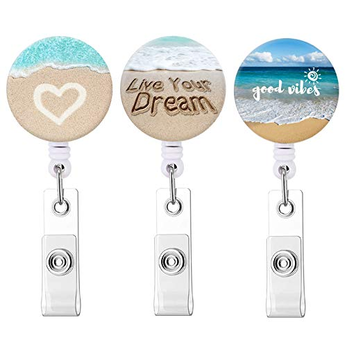 Badge Reel Retractable ID Badge Holder Beach Badge Reels with Alligator Clip on ID Card Holders (3 Pack Love Heart & Live Your Dream & Good Vibes)