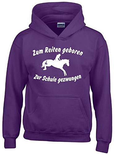 Zum Reiten geboren Zur Schule gezwungen ! Hoodie Sweatshirt mit Kapuze LILA Gr.152 cm