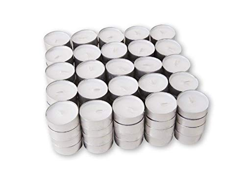100 Tealight Candles - Unscented White Tea Lights Made in Italy