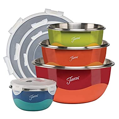 Fiesta 9377S8FBR 8-Piece Microwave Safe Mixing Bowl Set 8, 1, Mulit