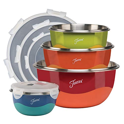 Fiesta 9377S8FBR 8-Piece Microwave Safe Mixing Bowl Set, Stainless Steel, Polypropylene & Rubber, Mulit