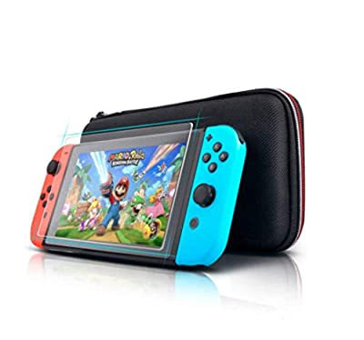 CSL1 Case For Nintendo Switch Console Black Slim Travel Carry Case INCLUDES Tempered Glass Screen Protector