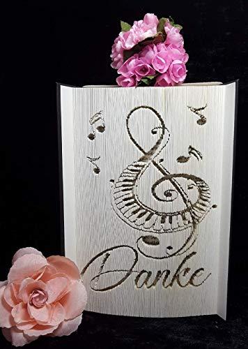gefaltetes Buch,mit Wunschwort, Geburtstag Geschenk Musik